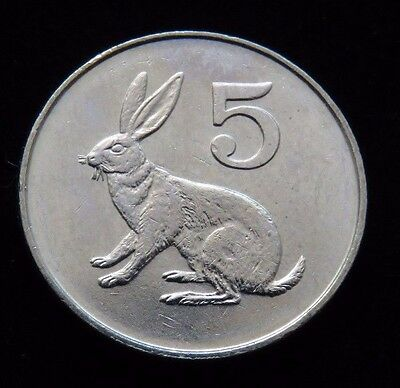 Bright Uncirculated 1980 Zimbabwe 5 Cents Rabbit Coin Lot 765