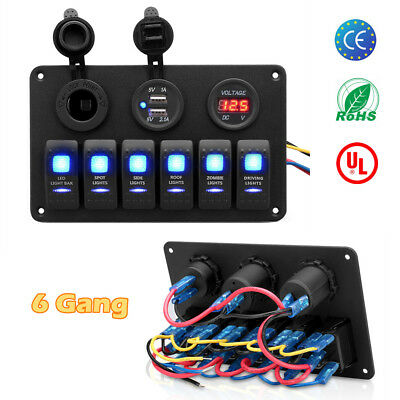 6 Gang Car Marine Boat 12V 24V LED Rocker Switch Panel Circuit Breaker Dual USB