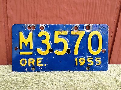 Old Vintage 1955 Oregon Motorcycle License Plate Harley Indian Blue Yellow Rare