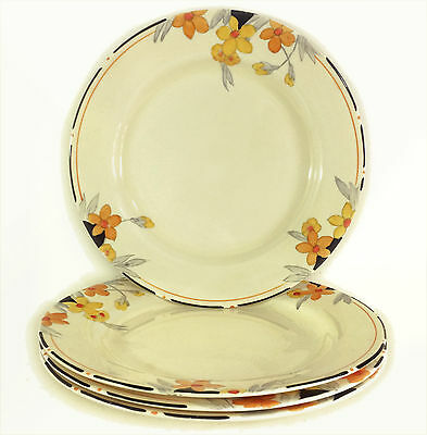 "Crown Ducal Art Deco SUNBURST 2649 - Set of Four (4x) 7-1/4"" Dessert Plates"