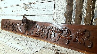 HAND CARVED WOOD PEDIMENT ANTIQUE FRENCH GOTHIC COAT OF ARMS CARVING PANEL 19th
