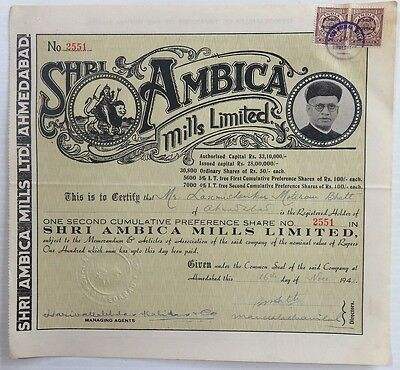 India 1942 Ambica Mills Illustrated share certificate