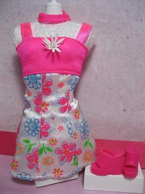 FLOWER FUN Barbie Doll PINK SPRING Easter Summer Floral Cloth MINI Dress/SHOES