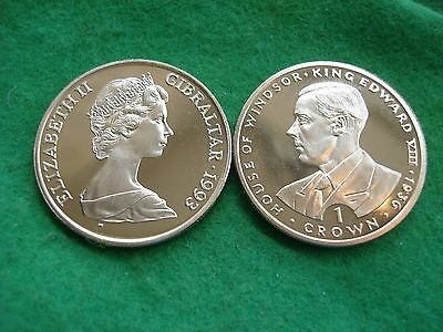 1993 Gibraltar Kings & Queens One Crown Edward VIII Prooflike BU KM#141 FREEPOST