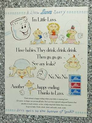 1993 Luvs Baby Diapers - Vintage Magazine Ad Page - Gets to the Bottom of Leaks