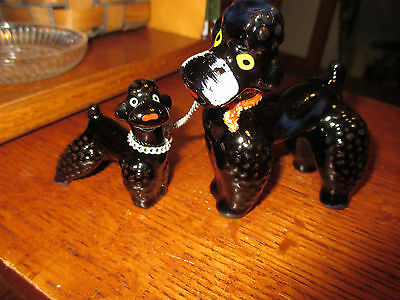 Vintage Japan Porcelain Black French Poodle Dog w/Puppy Figurine 3 piece set