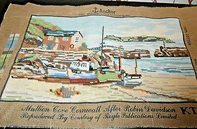"FINISHED NEEDLEPOINT TAPESTRY PANEL/PICTURE ~MULLION COVE CORNWALL ~17"" x 10"""
