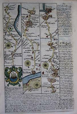 CORNWALL PADSTOW TRURO  St COLOMB  BY EMANUEL BOWEN GENUINE ANTIQUE c1720