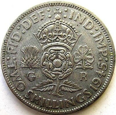 Great Britain Uk Coins, Two Shillings 1945, George Vi, Silver 0.500