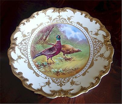 Gorgeous Antique Limoges Charger Pheasants Gold Gilt Signed Carville 13""