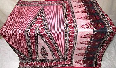 Red Black Pure Silk 4 yd Vintage Antique Sari Saree Germany South Africa #EJ46B