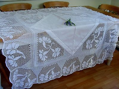 Stunning Vintage Hand Embroidered White Work Tablecloth Crochet Lace Butterflies