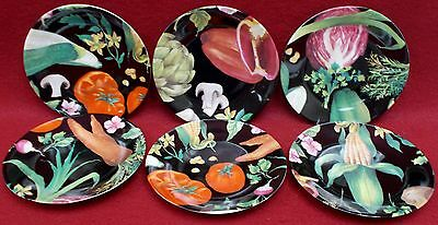 PHILIPPE DESHOULIERES Limoges VEGETABLES pattern Set of 6 Canape Plates in box
