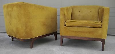 Pair vintage walnut barrel tub lounge chairs Jens Risom Metropolitan Dunbar era