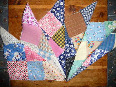 Antique Vintage Lot of 6 NINE PATCH Quilt Blocks  c.1880-1930's