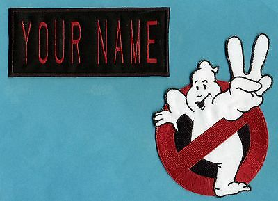 ADULT size Ghostbusters No Ghost 2  & Custom Name 2 Tag Patch Set: HOOK style