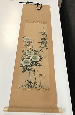 """JAPANESE HANGING SCROLL ART Painting """"Bird and Flowers"""" Asian antique"""