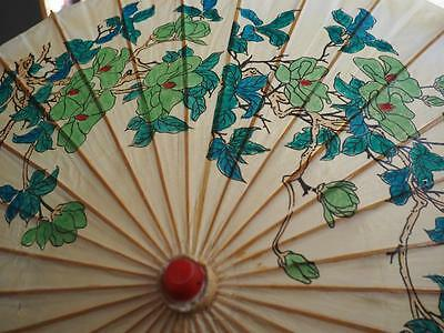 Beautiful Old Painted Parasol - Birds and Flowers - Very Vintage!