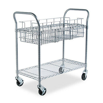 Safeco Wire Mail Cart, 600lbs, 18-3/4 x 39 x 38-1/2, Metallic Gray SAF5236GR