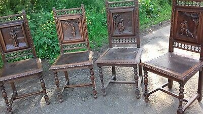4x Beautiful handcarved heavy original french/breton  antique dining chairs