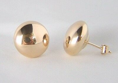 Ladies Girls 9ct Gold 7mm Large Flat Button Bead Ball Studs Earrings B'Day GIFT