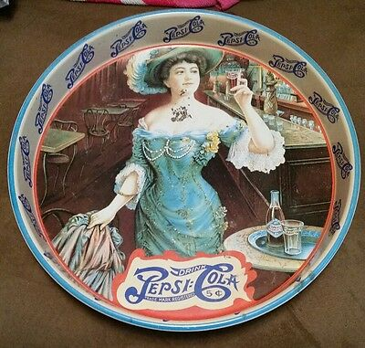 Vintage Pepsi Cola Metal Serving Tray Double Dot 5 Cents Gibson Girl Rare used