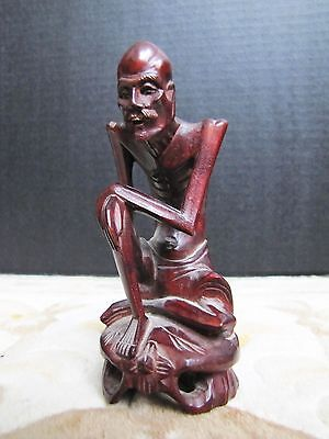 Rare Vintage Chinese Hand-Carved Rosewood Monk Figurine