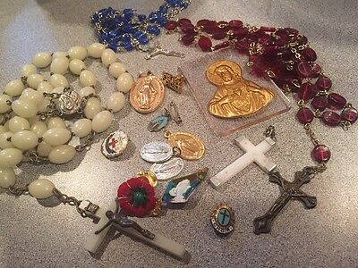 vintage estate Lot of Religious Medals rosary necklace cross etc