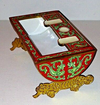 Chinese Brush Washer Pot Foo Dogs Lions Vivid Red Green Enameled Serpents Birds