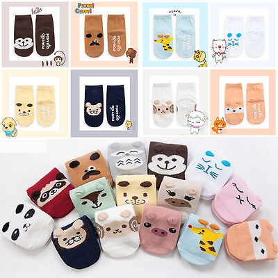 One Pair Baby Boy Girl Toddler Kids Slipper Anti-skid Ankle Socks White Black