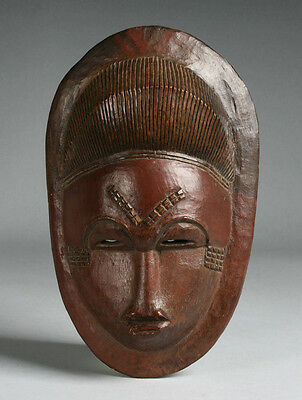 Fine Antique African Mask - Baule Culture / 19th - Early 20th Century
