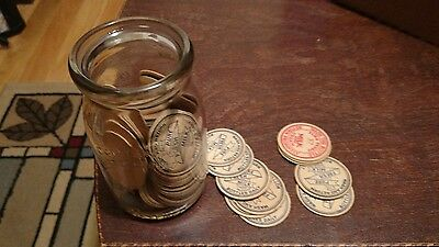 Vintage Cottage Cheese Jar with 50+ New Milk Bottle Caps