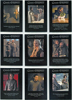 Game of Thrones Season 6 Quotable Complete 9 Card Chase Set Q51 to Q59