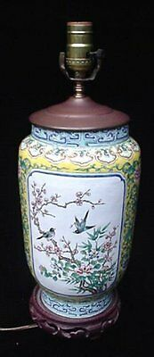 Vintage Chinese Hand Painted Enamel On Copper Canton Famille Oriental Table Lamp