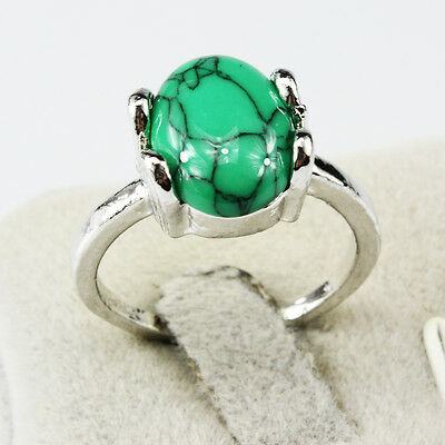 Turquoise Gemstone Fashion  Jewelry 925 Silver Men Women Ring Size 10