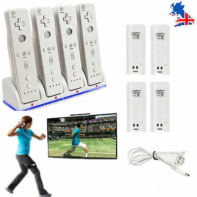 4 Rechargeable Battery And Dock Charger Station for Nintendo WII Remote White UK