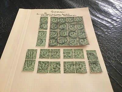 Grande Bretagne stamp anglais  Lot Timbres 1912 1/2 D Feuille Variante  Lot 9