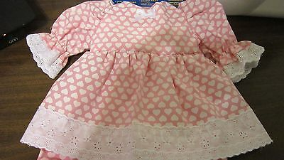 "Pink/White Hearts Print Dress/Bloomers Fits 17"" Lee Middleton, 15"" Bitty Baby"
