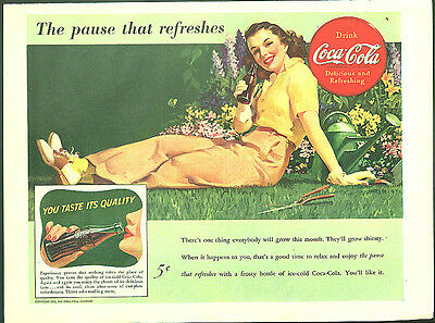 The pause that refershes Coca-Cola ad 1941 woman gardening Sundblom art