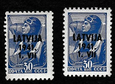 NO 90A - 2 X Russia Latvia 1941 Pilot Germany occupation Stamps - HINGED