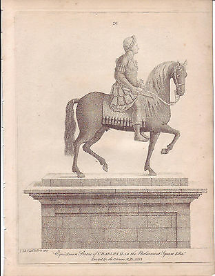 JOHN KAY Original Antique Etching. Equestrian Statue of Charles II, 1809