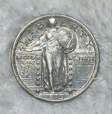1919 Standing Liberty Quarter in AU - Free Shipping