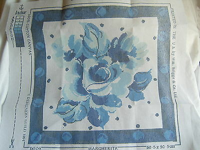 ANCHOR TAPESTRY LARGE CUSHION KIT BLUE FLOWERS  50.5 x 50.5 cm DESIGNERS GUILD