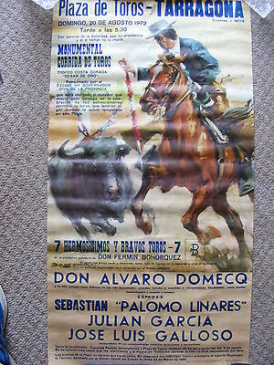 vintage original bull fighting poster;plaza de toros de tarragona 1972.large