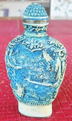 Chinese cream/blue Snuff Bottle with lid and spoon - Qianlong marking