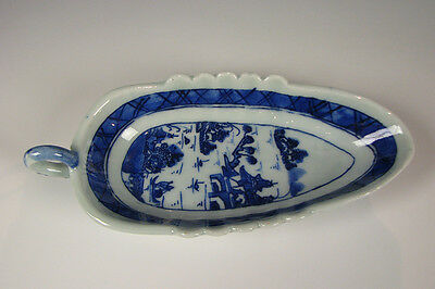 Antique Chinese Export Porcelain Blue and White Canton Sauce Dish