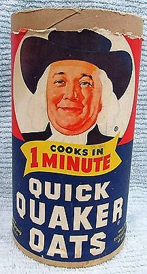 Old 1960s Quaker Oats Vintage Empty 5x10 Cardboard Cylinder Carton Box FREE S/H