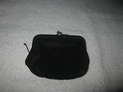 """Old Vintage Black Kiss Lock Coin Purse 3.5"""" x 3.5"""" Nice Condition"""