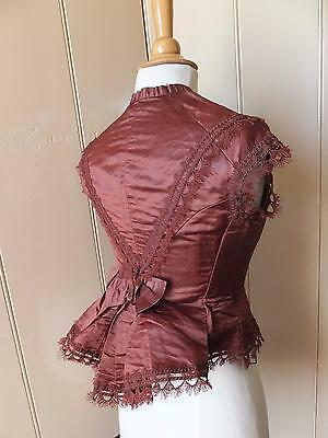 Antique c1870-5 Victorian silk bodice for bustle Beautiful passementerie & bow