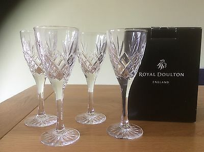 4 Beautiful Royal Doulton Cut Glass Crystal Wine Glasses Bnib